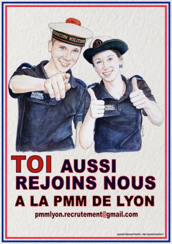 13. Lyon, la PMM recrute. Affiche crée par LV(R) J.F Bidault chef de centre de la PMM de Lyon.