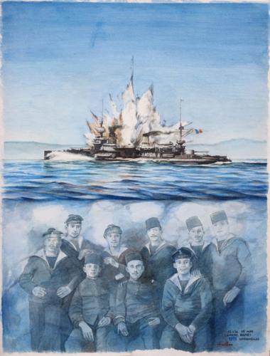 02. La fin du Bouvet aux Dardanelles, 1915.